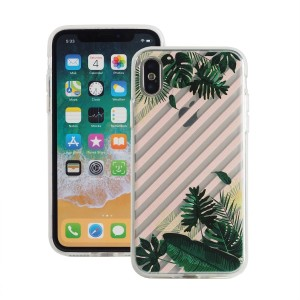 "Etui do iPhone X/XS (5.8"") Fashion Case Print Back [Leaves & Stripes],"