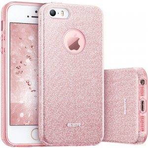 Brokatowe etui do iPhone SE/5/5S ESR Glitter Shine Cover [różowe złoto]
