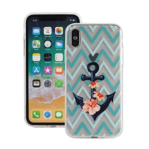 "Etui do iPhone X/XS (5.8"")Fashion Case Print Back [Anchor & Zig Zag],"