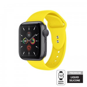 Pasek do Apple Watch 1/2/3/4/5/6/SE (38/40 mm) Crong Liquid Band [żółty]
