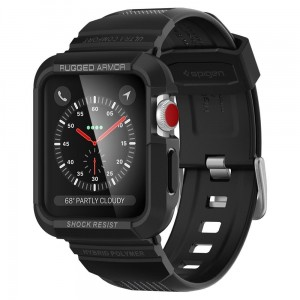 Pasek do Apple Watch z obudową 1/2/3 (42 mm) Spigen Rugged Armor Pro [czarny]