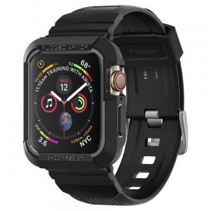 Pasek do Apple Watch z obudową 4/5/6/SE (44 mm) Spigen Rugged Armor Pro [czarny]