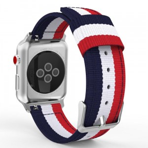 Pasek do Apple Watch 1/2/3/4/5/6/SE (42/44 mm) Tech-Protect Welling [granatowo-czerwony]