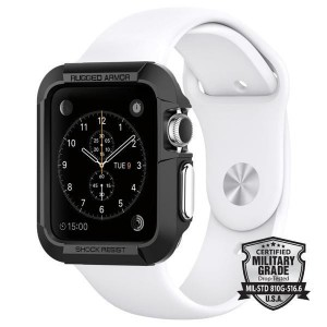 Etui ochronne do Apple Watch 1/2/3 (38mm) Spigen Rugged Armor [czarne]