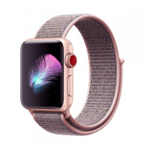 Pasek do Apple Watch 1/2/3/4/5 (38/40 mm) Tech-Protect Nylon [piaskowy róż]