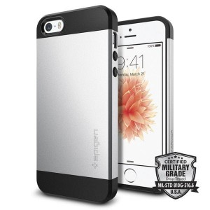 Etui do iPhone SE/5/5S Spigen Slim Armor S [srebrne]