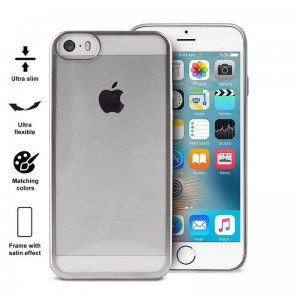 Etui do iPhone 5/5S/SE Puro Satin Cover [srebny]