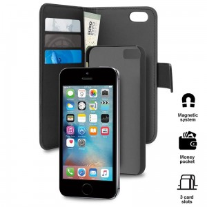 Etui do iPhone 5/5S/SE Puro Wallet Detachable 2W1 [czarny]