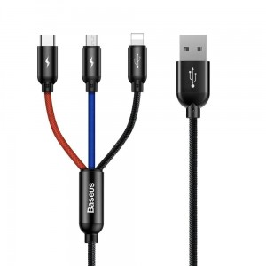 Kabel Baseus 3IN1 Type-C & Lightning & Micro-USB 120CM [czarny]