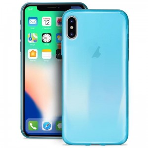 "Etui do iPhone X/XS (5.8"") Puro 0.3 Nude [fluo niebieski]"