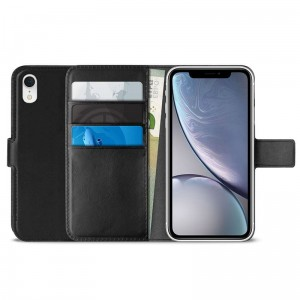 Etui do iPhone XR Puro Booklet Wallet Case z kieszeniami na karty + Stand Up [czarny]