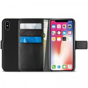 "Etui do iPhone XS MAX (6.5"") Puro Booklet Wallet Case z kieszeniami na karty + Stand Up [czarny]"