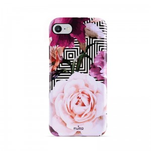 Etui do iPhone 6/6S/7/8/SE 2020 Puro Glam Geo Flowers [różowe piwonie]