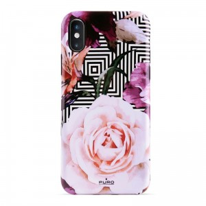 "Etui do iPhone XS MAX (6.5"") Puro Glam Geo Flowers [różowe piwonie]"