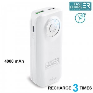 Power Bank Puro Universal External Fast Charger Battery 4000 mAh, 2 X USB, 2.4 A [biały]