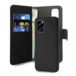 Etui z klapką 2w1 do iPhone 11 Pro Max Puro Wallet Detachable [czarny]