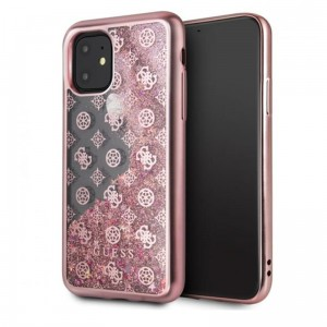 Etui do iPhone 11 Guess 4G Peony Liquid Glitter [różowy]