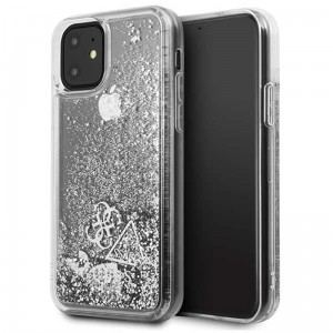 Etui do iPhone 11 Guess Liquid Glitter Hearts [srebny]