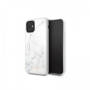 Etui do iPhone 11 Guess Marble Tempered Glass Hardcase [biały]