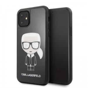 Etui do iPhone 11 Karl Lagerfeld Double Layer Glitter Tempered Glass ze szklanym tyłem [czarny]