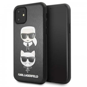 Etui do iPhone 11 Karl Lagerfeld Embossed Case Karl & Choupette [czarny]