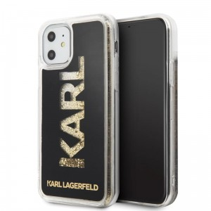 Etui do iPhone 11 Karl Lagerfeld Logo Karl Liquid Glitter [czarny - złoty brokat]