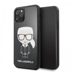 Etui do iPhone 11 Pro Karl Lagerfeld Double Layer Glitter Tempered Glass ze szklanym tyłem [czarny]