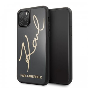 Etui do iPhone 11 Pro Karl Lagerfeld Double Layer Tempered Glass Glitter Signature Case [czarny]