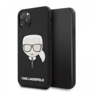 Etui do iPhone 11 Pro Karl Lagerfeld Iconic Embossed Glitter Case [czarny]