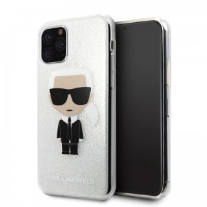 Etui do iPhone 11 Pro Karl Lagerfeld Iconic Karl [srebny brokat]