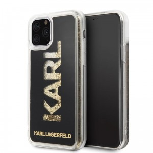 Etui do iPhone 11 Pro Karl Lagerfeld Logo Karl Liquid Glitter [czarny - złoty brokat]