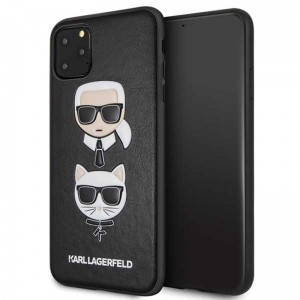Etui do iPhone 11 Pro Max Karl Lagerfeld Embossed Case Karl & Choupette [czarny]