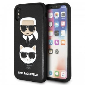 "Etui do iPhone X/XS (5.8"") Karl Lagerfeld Embossed Case Karl & Choupette [czarny]"