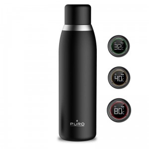 Butelka Termiczna 500ml Inox z inteligentną nakrętką Led - Puro Smart Bottle [czarna]