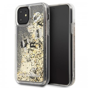 Etui do iPhone 11 Karl Lagerfeld Signature Glitter Case [złoty pływający Charms]