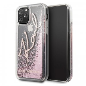 Etui do iPhone 11 Pro Karl Lagerfeld Signature Glitter Case [różowo złoty]