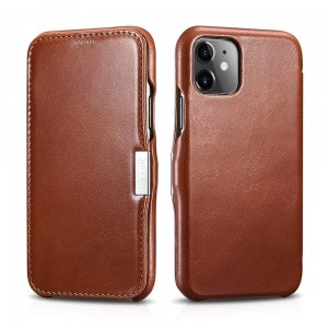 Etui do iPhone 11 iCareR Vintage z klapką [brązowy]