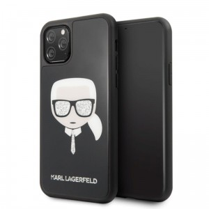 Etui do iPhone 11 Pro Karl Lagerfeld Double Layers Glitter Head [czarny]
