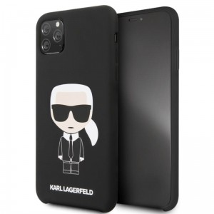 Etui do iPhone 11 Pro Max Karl Lagerfeld Fullbody Silicone Iconic [czarny]