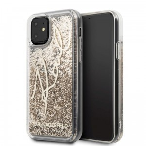 Etui do iPhone 11 Karl Lagerfeld Signature Glitter Case [złoty]