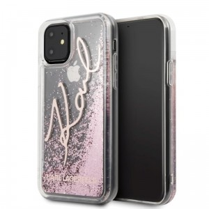 Etui do iPhone 11 Karl Lagerfeld Signature Glitter Case [różowe złoto]