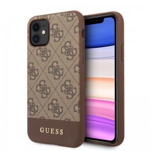 Etui do iPhone 11 Guess 4G Bottom Stripe Collection [brązowy]