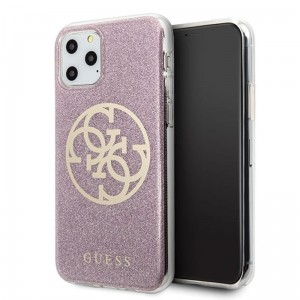 Etui do iPhone 11 Pro Max Guess Circle Glitter 4G [różowy]