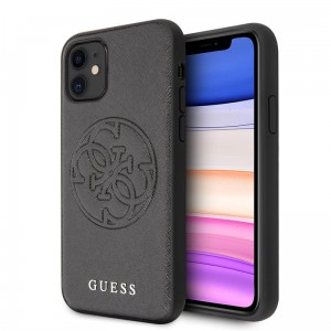Etui do iPhone 11 Guess Saffiano 4G Circle Logo [czarny]