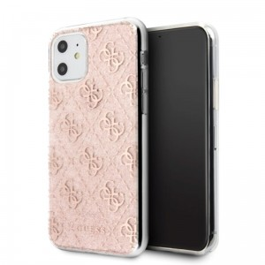Etui do iPhone 11 Guess 4G Glitter [różowy]