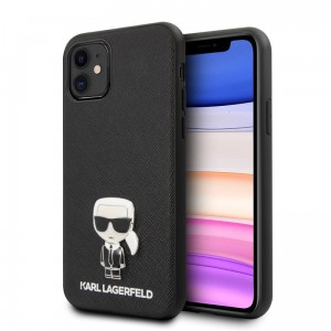 Etui do iPhone 11 Karl Lagerfeld Saffiano With Pin Ikonik [czarny]