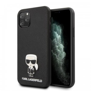 Etui do iPhone 11 Pro Karl Lagerfeld Saffiano With Pin Ikonik [czarny]