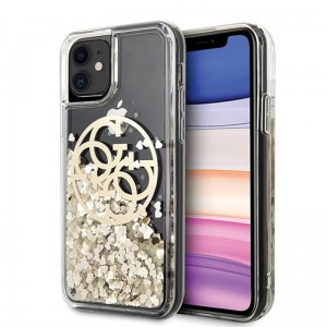 Etui do iPhone 11 Guess Gradient Liquid Glitter Circle Logo [złoty]