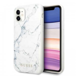 Etui do iPhone 11 Guess Marble [biały]