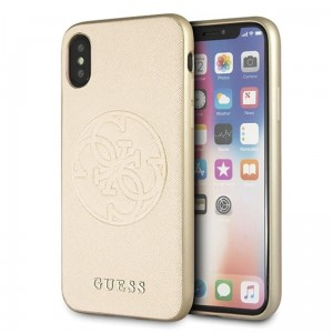"Etui do iPhone X/XS (5.8"") Guess Saffiano 4G Circle Logo [złoty]"